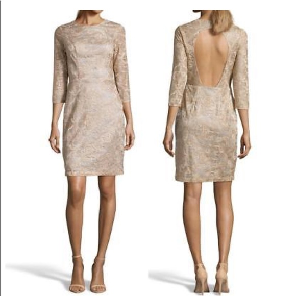 db4dcf2ad09e5 Sue Wong Dresses | Gold Floral Embroidered Lace Cutout Back | Poshmark